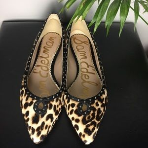 Sam Edelman Rini Cow Hair Leopard Pointed Flats